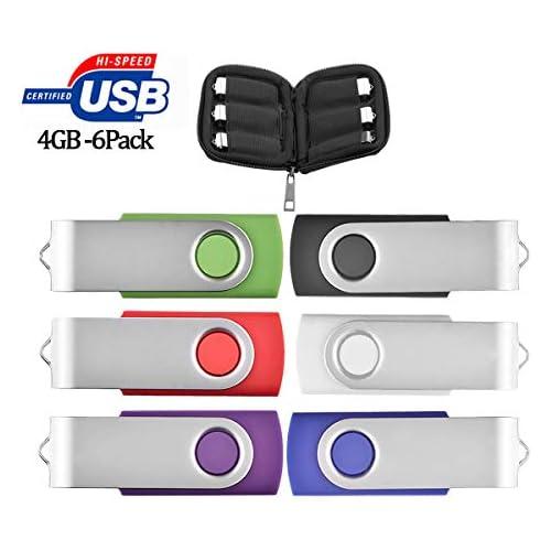 4GB Flash Drive 6 Pack, USB Flash Stick with Easy-Storage Bag ARETOP Pen Drive Gig Stick Memory Stick USB2.0 Pendrive 4GB Thumb Drives for Fold Date Storage (6 PCS - Mix-Colors)