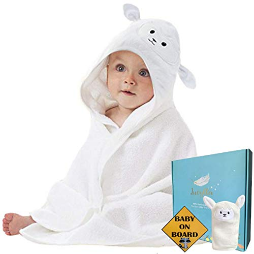 Organic Bamboo Baby Hooded Towel with Bonus Wash Glove | Ultra Soft and Super Absorbent Toddler Hooded Bath Towel with Cute Lamb Face Design | Great Infant/Newborn Shower Present for Boy or Girl