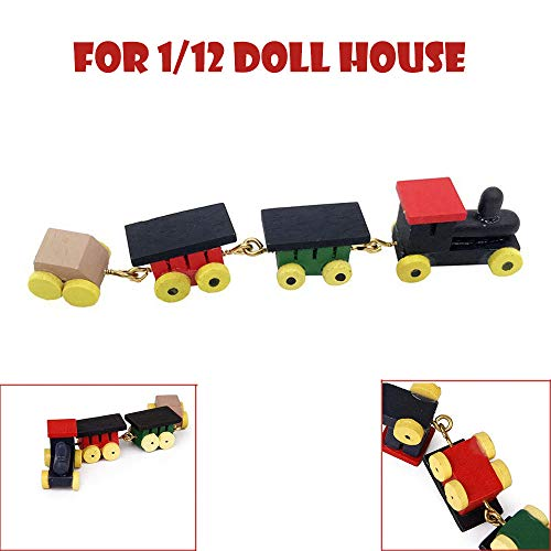 Euone  Christmas Clearance , 1/12 Doll House Miniature Wooden Carriages and Train Toy Set Model Home Decor from Euone