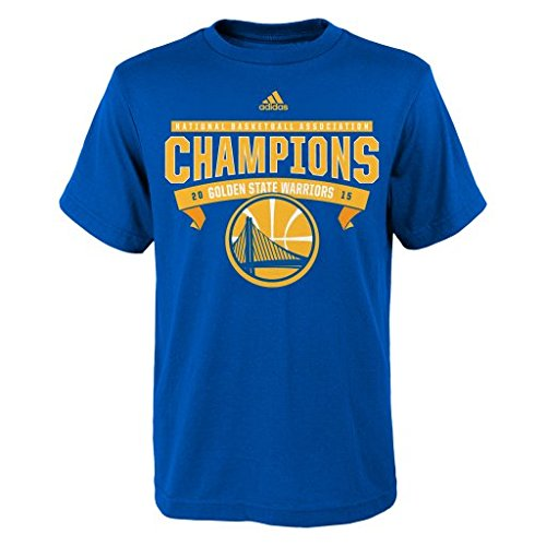 """NBA Golden State Warriors Youth Boys 8-20 """"Banner Champions Roster"""" Short Sleeve Tee, Large (14/16), Royal"""