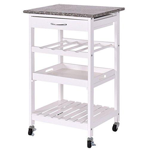 DPThouse 4-Tier Rolling Wood Kitchen Trolley Home Island Storage Cart w/ Drawer Wine Rack