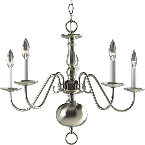 Progress Lighting P4355-09 5-Light Americana Chandelier with Delicate Arms and Decorative Center Column and Candelabra Lamps, Brushed ()