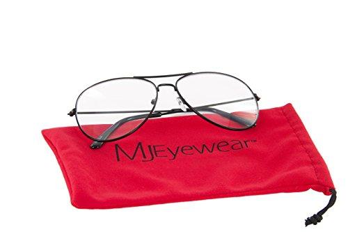 1dd9e618a5 MJ Eyewear Classic Tear Drop Aviator Glasses Clear Lens Metal Frame ...