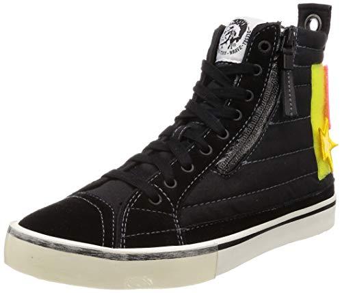 Diesel Men's D-Velows Patch-Sneaker mid, Black/Yellow Fluo, 8 M - Footwear Yellow Fluo