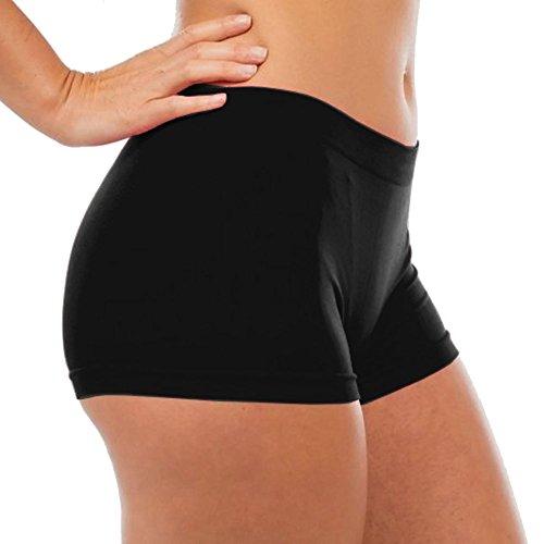 Victoria Women's Seamless Spandex Boyshort Underskirt Pant Short Leggings, Black, (Black Boy Shorts)