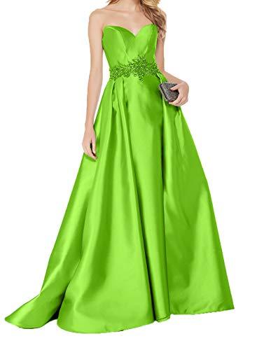 Abendkleider Charmant Elegant Gruen Lang Abschlussballkleider Damen Steine Herzausschnitt Traegerlos Brautmutterkleider Lemon Satin mit qrtwH6r5