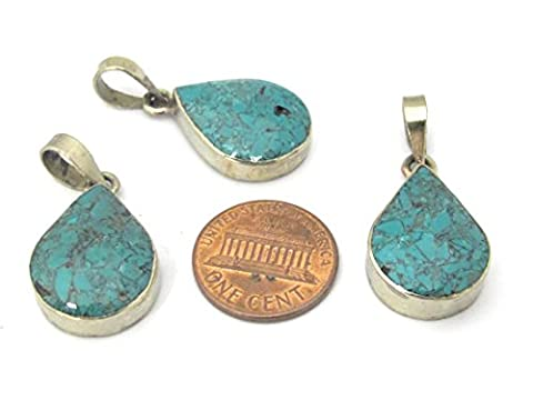 1 Pendant - Tibetan silver teardrop shape turquoise gemstone pendant from Nepal - PM460 - Turquoise Tear