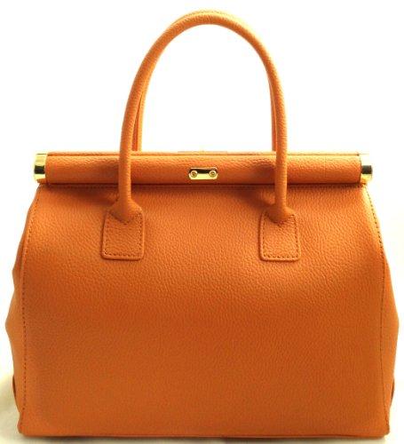 de en Fabricado Bolso con elegante Verdadera bandolera asas CTM baùl Piel Camello Italia naranja 100 mujer y 1twxn6pU