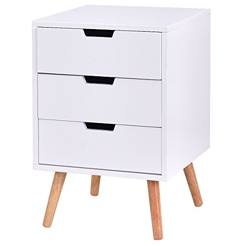 Giantex White Side End Table Nightstand With Drawers Mid-Century Accent Wood Furniture (W/3 Drawers)