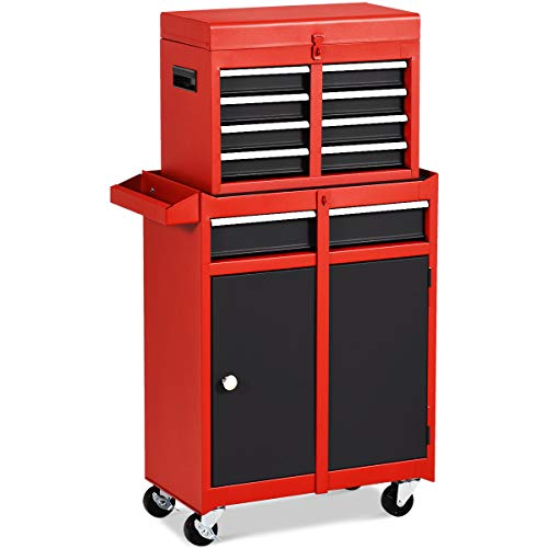 (Goplus 5-Drawer Rolling Tool Chest, Tool Storage Box, Removable Tool Cabinet, Sliding Metal Organizer w/Lockable Drawers (Black+Red))
