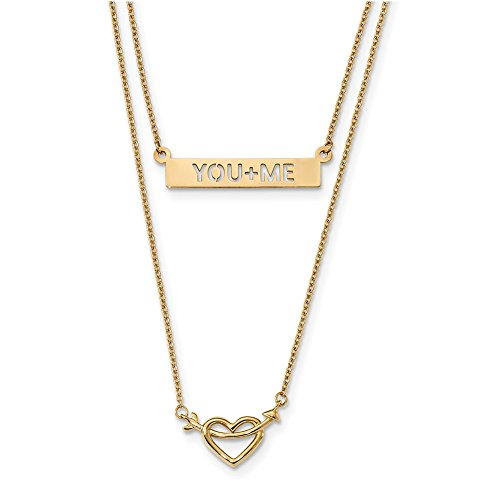 Lex & Lu 14k Yellow Gold Two-Strand Polished You+ME Heart Necklace 17
