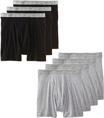 Fruit of the Loom Men's Tag-Free Boxer Brief (Pack of 7) (Black & Grey, Medium)