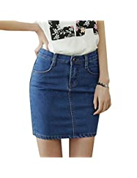 EGELBEL Women's Solid Above Knee Denim Jean Pencil Skirt