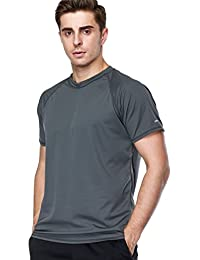 anfilia Men Suring Rashguard Loose Fit Sun Shirt Short Sleeve Swim Shirt Gray Medium