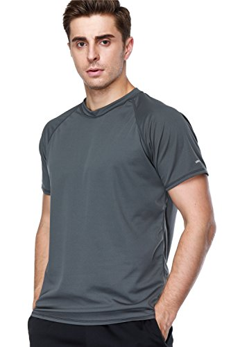 anfilia Swim Tee Shirt for Men Solid Rash Guard Loose Fit Sportwear Gray Large ()