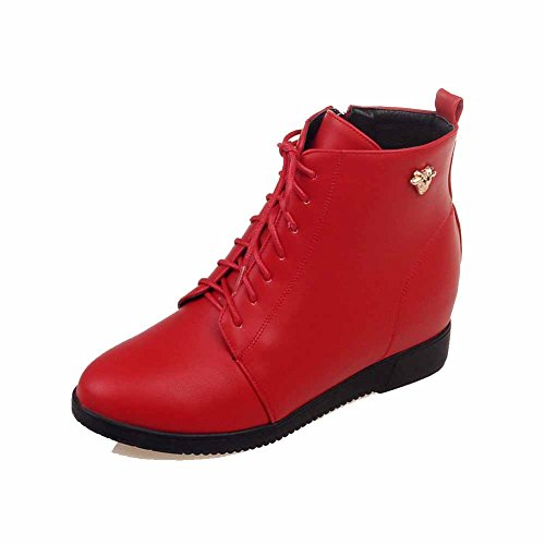 Closed Round Boots Zipper Red Metal Toe Solid Heels Allhqfashion Nail with High Women's XwHZqIAR