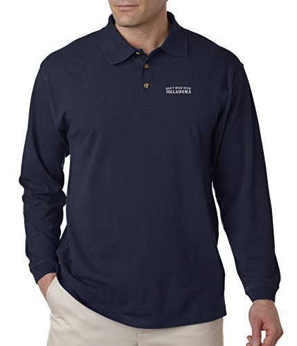 Don't Mess with Oklahoma Embroidery Adult Button-End Spread Long Sleeve Unisex Cotton Polo Jersey Shirt Golf Shirt - Navy, 3X Large