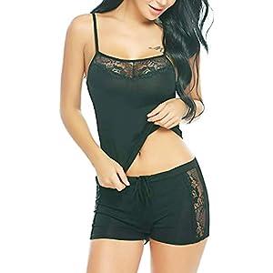 HiloRill Women, Girls Sleepwear Lace Pajamas Set Shorts Nightwear Camisole Short Sets 12 41llc fFkaL. SS300