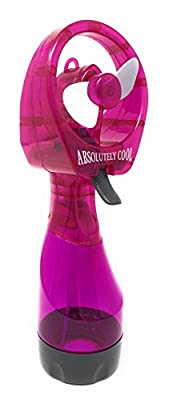 Deluxe Portable, Handheld Battery Operated Personal Misting Fan/Spray Fan with Wide Opening for Ice and Safe Blades, Purple (batteries included)