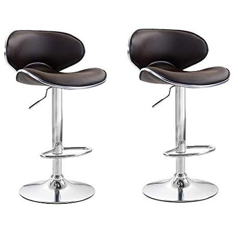Astonishing Viscologic Oasis Swivel Leather Adjustable Hydraulic Bar Stool Set Of 2 Brown Machost Co Dining Chair Design Ideas Machostcouk