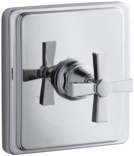 - KOHLER K-T13173-3A-CP Pinstripe Pure Thermostatic Valve Trim, Cross Handle, Polished Chrome