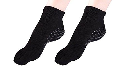best Cosfash Yoga Socks Non Slip Skid Toe Grips for Pilates Barre Women Men