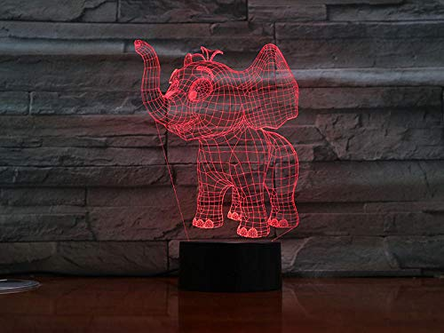Xiujie 3D Night Light Cartoon Elephant 7 Color Illusion Lamp Children's USB Touch 3D Table Lamp Halloween Christmas Children's Gift Bedroom Bedside Lamp -