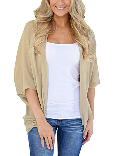 PRETTODAY Womens Summer Solid Color Kimono Cardigan Loose Sleeves Cover up,A-khaki,XX-Large
