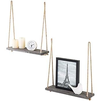 MyGift 17-inch Dark Gray Wood Hanging Rope Swing Shelves, Set of 2