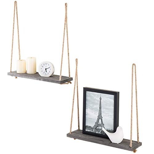 MyGift 17-inch Dark Gray Wood Hanging Rope Swing Shelves, Set of 2 (Wall Outdoor Shelves)