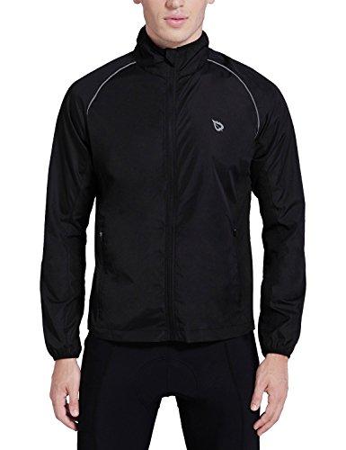 (Baleaf Men's Windproof Cycling Windbreaker Jacket Black Size M)