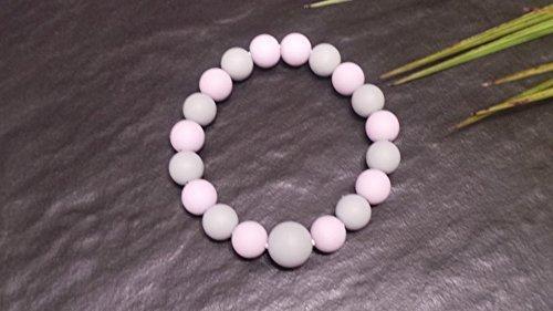 Bracelet de perles maternité / naissance en silicone alimentaire pour maman  et bébé , version rose