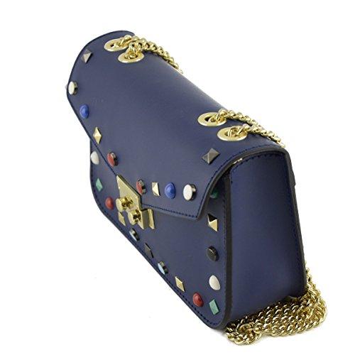 Bolso De Hombro En Piel Verdadera Color Azul - Peleteria Echa En Italia - Bolso Mujer
