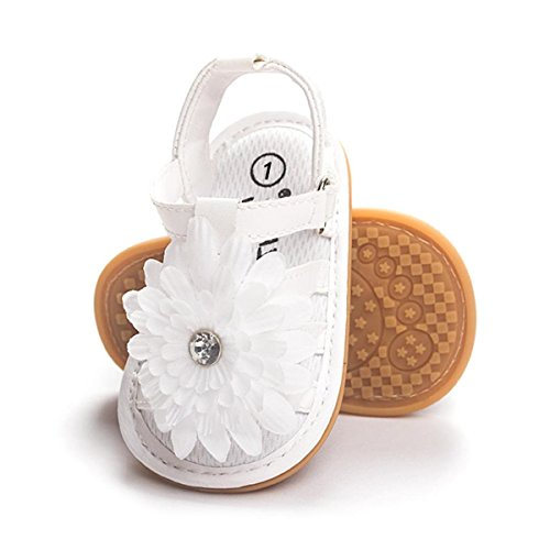 RVROVIC Baby Girl Sandals - Soft Sole Infant Girl Summer Crib Shoes Princess Dress Flats (4.33 inch (0-6 Months), 3-White) -