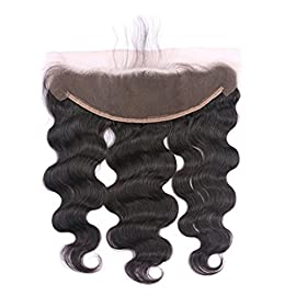 YOUDO Hair 8A Body Wave 13×4 Lace Frontal Closure Human Hair Extensions Free Part Ear to Ear Lace Frontal with Baby Hair for Black Women Bleached Knots(Natural Color 10Inch)