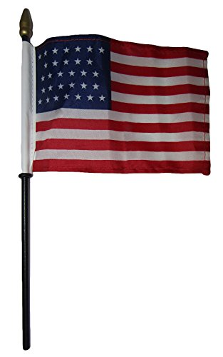(ALBATROS 6 31 Star Linear USA 4 inch x 6 inch Flag Desk Set Table Wooden Stick Staff for Home and Parades, Official Party, All Weather Indoors Outdoors)