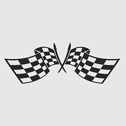 Checkered Auto Race Crossed Car Flags Go Kart NASCAR Mens Racing Sports Speed Thrill - Stick Sticker
