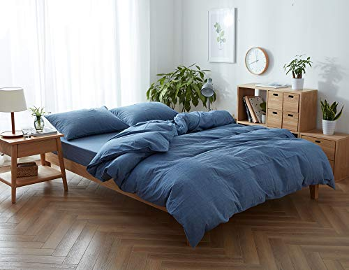 Jane yre Lightweight Soft Denim Blue Washed Cotton King Duvet Cover Set 3 Piece Luxury Bedding Set Hotel Quality Bedding Collection,Modern Duvet Comforter Cover Set