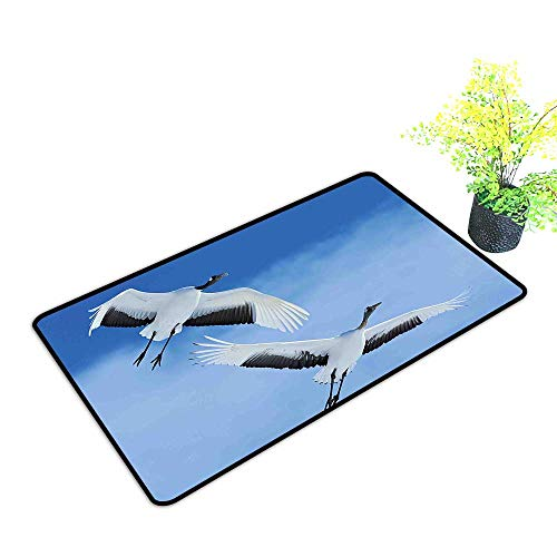 Entrance Door Mat Large Red Crowned Crane with Open Wings Flying in Clear Sky Japanese Animal Duo Dress Up Your Doorway W29 x H17 -