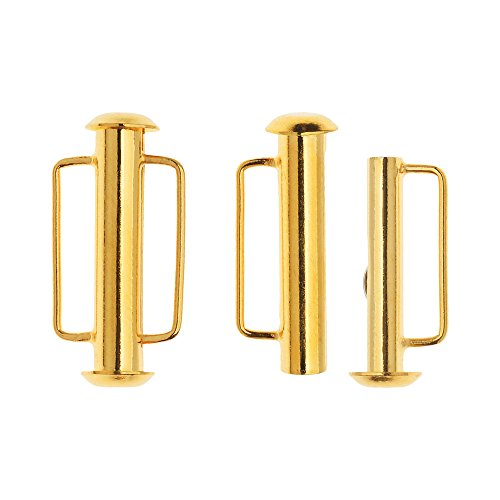 Loop Clasp Set (Slide Tube Clasps, with Bar Loops 21.5x10.5mm, 2 Sets, 22K Gold Plated)