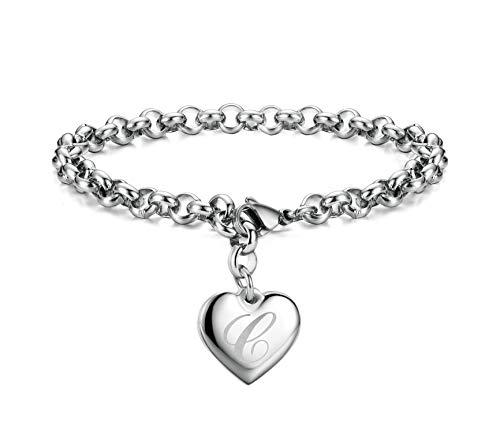 Monily Initial Charm Bracelets Stainless Steel Heart Letters C Alphabet Bracelet for Women
