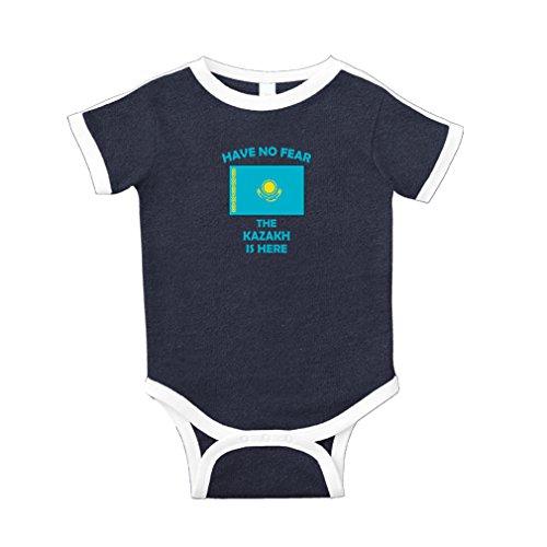 - Have No Fear Kazakh is Here Kazakhstan Cotton Short Sleeve Crewneck Unisex Baby Soccer Bodysuit Sports Jersey - Navy, Newborn