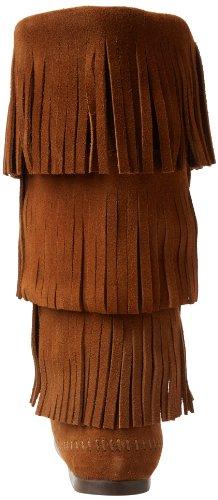 Minnetonka Calf Hi 3-Layer Fringe Boot 1638 - Botas de cuero para mujer Marrón (Dusty Brown Suede)