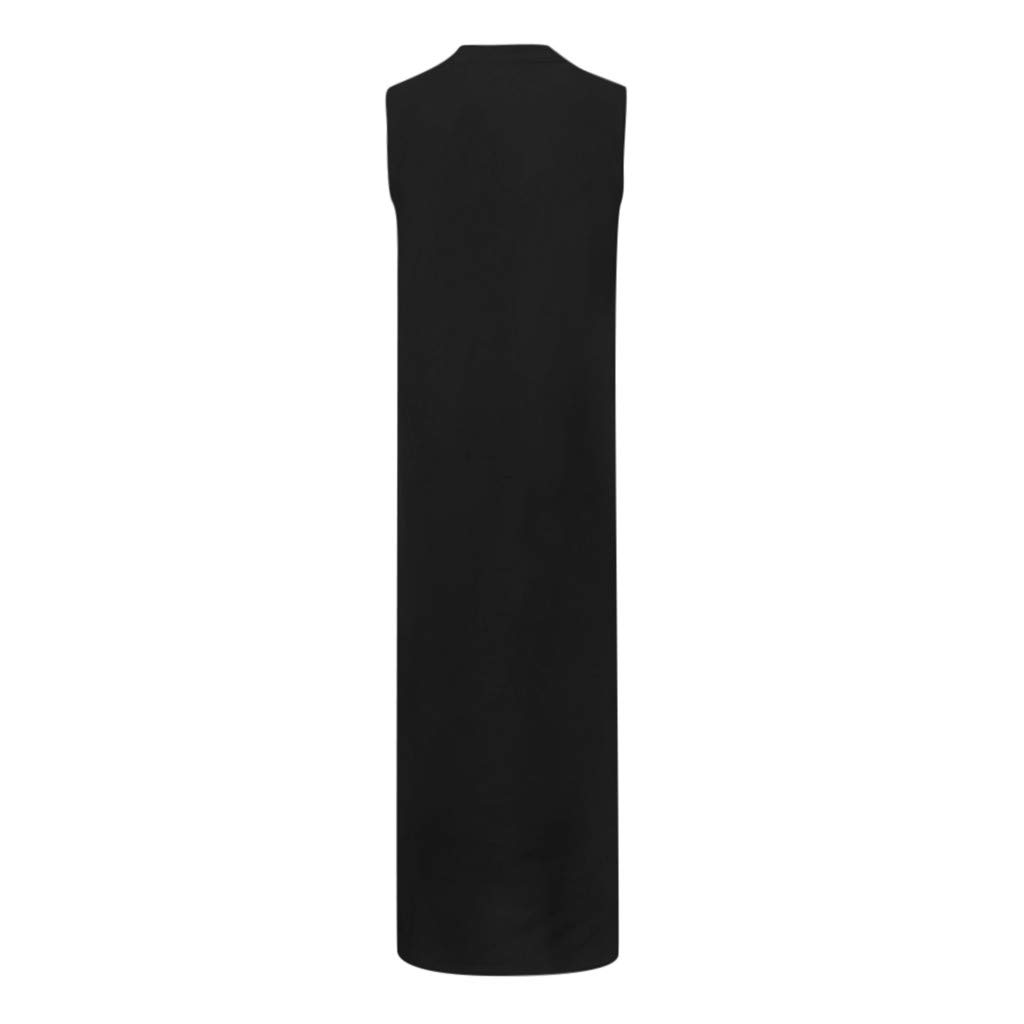 Womens Bohemian Floral Print Split Cotton Linen Maxi Dress V Neck Sleeveless Casual Baggy Long Dress