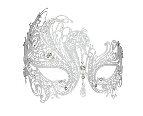 [Delicate Glitter Metal Lady Masquerade Mask Halloween Mardi Gras Party Mask (White)] (White Mardi Gras Mask)