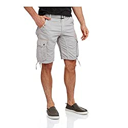 Repair Brand Men's Belted Cargo Shorts With Embellishments (Regular or Big & Tall (28, Light Grey)
