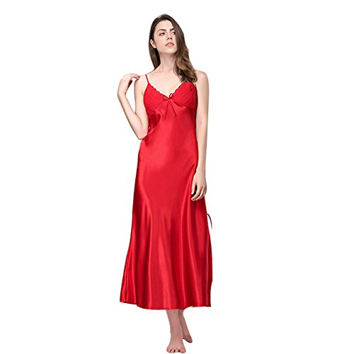 SexyTown Women's Long Trimmed Satin Nightgown V-Neck Full Slip Lingerie Sleepwear (X-Small, - Lace Nightgown Trimmed