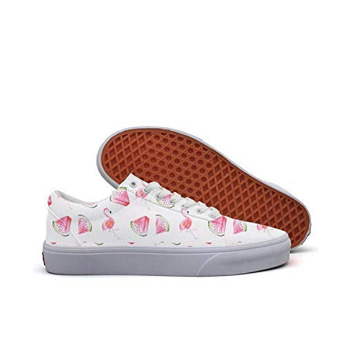 Watermelon Flamingos Women's Lace-up Low Top Shoes Canvas Casual Skate ()