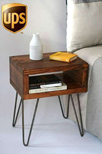 Handmade Hall Concole Accent Bedside End Table/Solid Wood Entryway Desk/Vintage Rustic Home Bedroom Nightstand Furniture ()