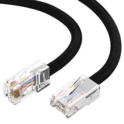 (GOWOS Cat6 Ethernet Cable (15 Feet - Black) - 24AWG Network Cable with Gold Plated RJ45 Non-Booted Connector - 10 Gigabit/Sec High Speed LAN Internet/Patch Cable - 550MHz)